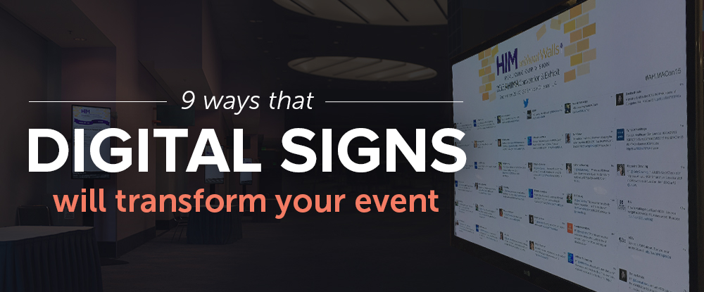 Like the traditional printed guidebook, cardboard signage is disappearing from conferences and trade shows. Digital signage is quickly becoming an essential part of the attendee experience because it is efficient, cost effective, and provides a professional look to a conference or trade show. Here are 9 ways you can use digital signage to transform your next event.